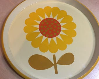 Vintage Yellow Sunflower Tray, Seranade by JSC, Retro Dish, Round Plate, Melamine Platter, Lacquer