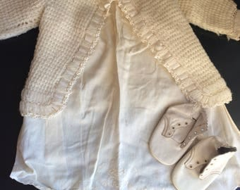 Vintage Baby Dress, Three Piece Outfit, Off-white Gown