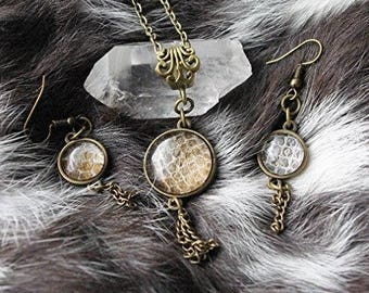Real Snake Skin Ball Python Shed Necklace and Earring Set