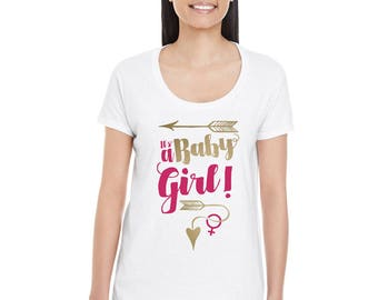It's A Baby Girl! - Ladies Maternity Gender Reveal T-Shirt in Metallic Gold and Metallic Silver