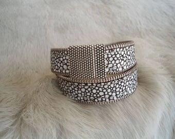 Leather double wrap bracelet : ZIPPLEA