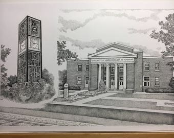 "UNC - Pembroke 11""x17"" pen and ink print"