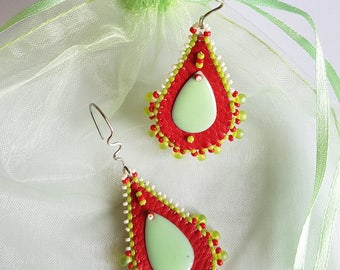 """Embroidered earrings """"Red and Green Spring"""""""