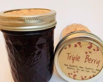 Mixed Berry Jam, Triple Berry Jam, Maine Made, Maine Strawberries, Maine Blueberries, Maine Raspberries, half pint