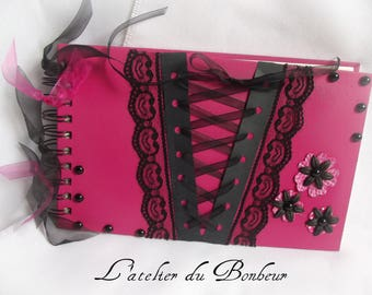 Gothic themed guest book fuchsia and Black Lace