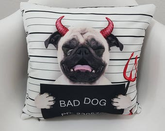 Pillow Case 17x17 Bad Dog Pug Prisoner Cute Evil Printed Cushion Cover