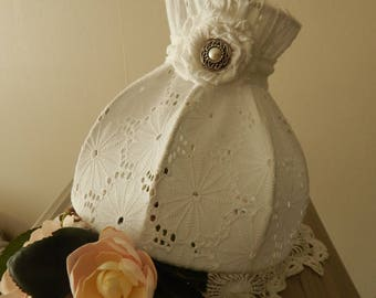 Lamp shade white French lace