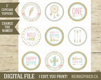 Personalized Printable Wild One Tribal Boho Birthday Cupcake Toppers, Pink Gold Mint, Tribal Party, Tribal Birthday, OLIVIA, DIGITAL FILE