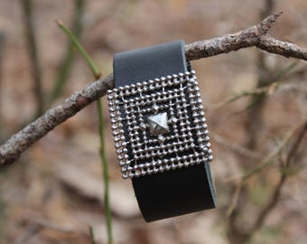 Leather Cuff with Silver Buckle