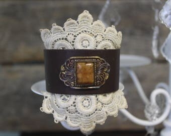Leather Cuff with antique shoe buckle and antique lace.