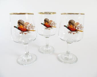 Pheasant Wine Glasses, Vintage Wine Glasses Set of 3, Vintage Barware Decor, Retro Glasses, Game Bird Glasses, Mid Century Glasses