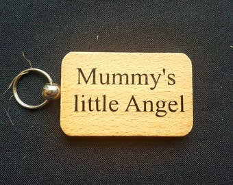 Wooden Keyring Key ring - MUMMY'S LITTLE ANGEL - Birthday Gifts Mother's day - New Mum Wooden gifts
