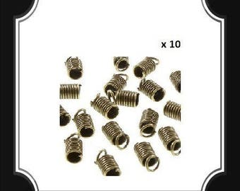 10 GREENHOUSES WIRE SPRING CAP FOR CORD METAL BRONZE