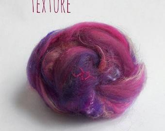 Spinning fiber - Textured fiber nests - Merinos, flax, silk, locks - 50gr - 50 shades of texture - Purple