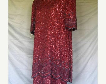 On Sale 1920's Inspired 80's Burgundy Silk Short Sleeve Art Deco Dress Sequins & Beads Brilliante