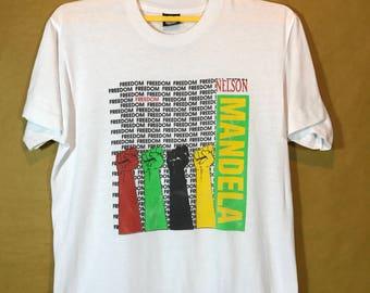 80s 90s Vintage NELSON MANDELA Freedom T-shirt 50/50 Polyester Cotton Adult Large Size