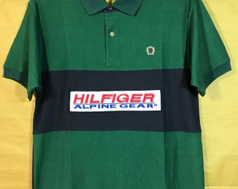 90s Vintage Deadstock Unworn With Tags TOMMY HILFIGER Alpine Gear Patch Polo Shirt Adult Large Size