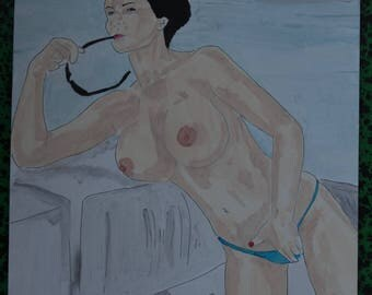 """female nude acrylic painting """"Cruise"""" signed G.Vanspey A4 drawing"""