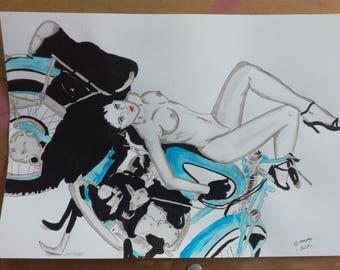 "drawing of nude female erotic ""motorcycle"""