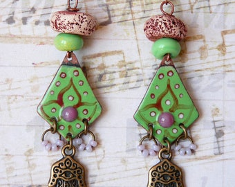 Earrings Ethnic Boho Bohemian Indian Hippie Oriental Chic, Hand of Fatma, Dangle Earrings, Enamel Copper Pendant, Handmade, Womens Gift
