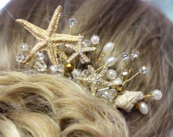 Gold Starfish Seashell Bridal Comb/ Beach Theme Comb