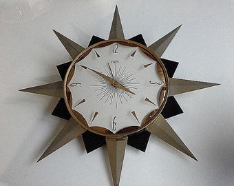 Smiths Black & Gold Starburst Sunburst Wall Clock Atomic Hipster Retro