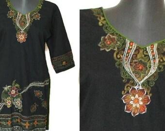 Indian embroidered kurta Boho black embroidered tunic hippie bohemian tunic Tribal dress shirt  Ethnic embroidery caftan