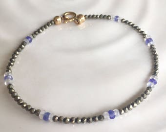 Dainty Golden Pyrite, Tanzanite, & Moonstone Minimal Stacking Bracelet