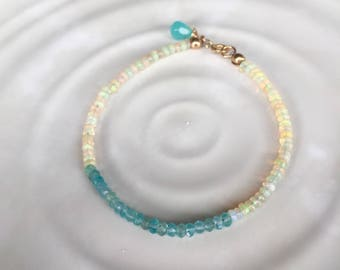 Dainty Ethiopian Opal and Apatite Beaded Stacking Bracelet