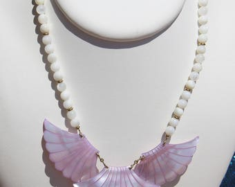 gold plated and genuine mother of Pearl bib necklace