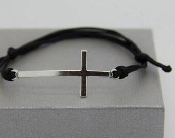 black metal with adjustable cross bracelet