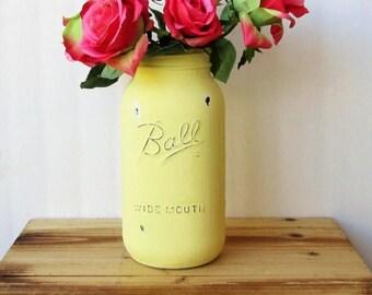 SUMMER SALE Large Mason Jar / Half Gallon Yellow Painted Mason Jar / Country Chic Decor / Large Yellow Vase / Farmhouse Decor