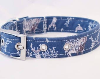 Handmade blue stag dog collar with silver metal buckle
