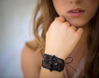 Black satin bows and lace bracelet