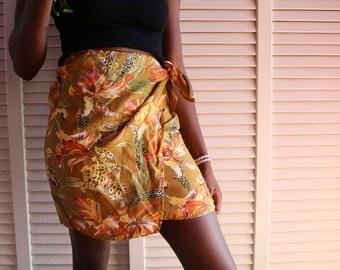 Vintage 80s Floral Cheetah Skirt