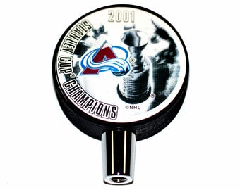 2001 Colorado Avalanche NHL Stanley Cup Champions Hockey Puck Beer Tap Handle