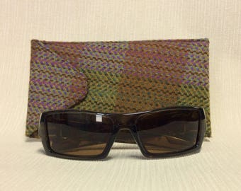 Welsh tweed wider glasses/spectacles/sunglasses case in dusky pink, olive & green