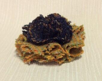Welsh tweed flower brooch, corsage in orange and dark aubergine