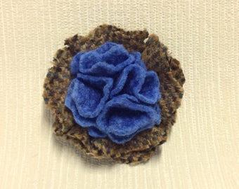 Welsh tweed flower brooch, corsage in brown and blue
