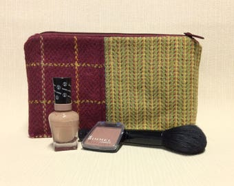 Welsh tweed zipped washbag, Toiletries bag, cosmetics, make-up bag, pencil case in lime green and dark pink