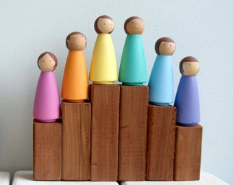 Rainbow Peg Dolls - SET 6 LARGE, Peg Doll, Peg dolls, Peg People, Wooden Peg Dolls, Montessori Toys, Wooden Dolls, Montessori, Waldorf Toys