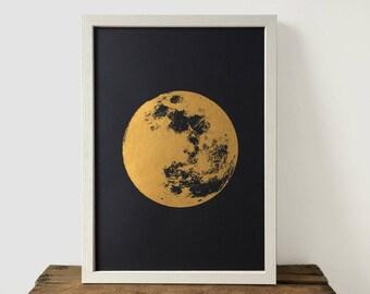 Moon Print, Gold Print, Realistic Moon, Boho, Bohemian, Poster, A3 Art Print, Prints, Screenprint, Gift Idea, Print