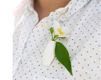 Geometric Planter Pin in White