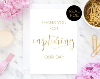 Thank You Photographer, Thank You For Capturing Our Day, Foil Card, Wedding Card, Real Foil Card, Wedding Party Card, Wedding Cards