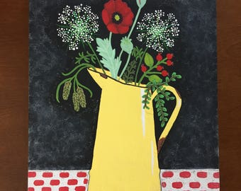 Folkart Painting, Folk Art, Folkart Acrylic, Flower Painting on Wood, Folkart Primitive, Wood Sign, Flower Vase Painting, Painting of Flower