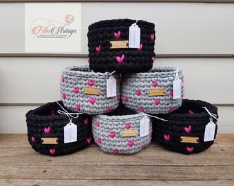 Handmade Crochet Love Heart T-Shirt Yarn Basket