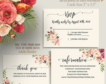 Printable Wedding Suite, Invitation, RSVP, information and thank you cards, Instant Download Self Editable templates PDF IC116