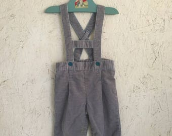 Vintage Baby Clothes Gray Corduroy Lederhosen Overalls Austrian Style Baby Overalls Size 9-12 Months