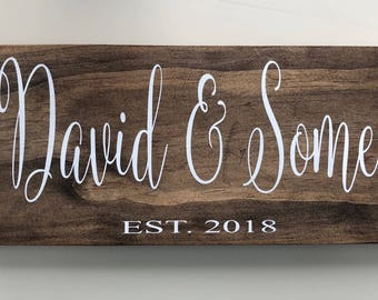Couples Sign, Couples Gift, Name Sign, Personalized Gift, Wedding Gift, Housewarming Gift, Custom Sign