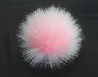 Size L (Baby Pink - white tips) faux fur pompom 5 inches /14 cm